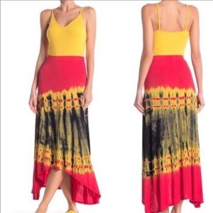 Go Couture Tie Dye High/Low Maxi Skirt NWT